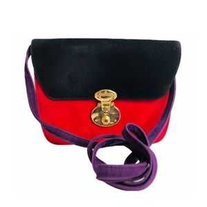 Vintage 90s Colorblock Velveteen Mini Shoulderbag